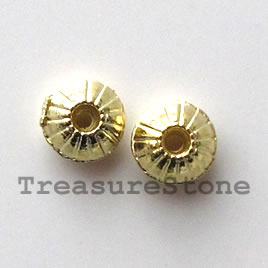 Bead, bright gold-finished, 5mm saucer. Pkg of 20.