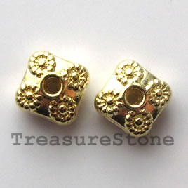 Bead, bright gold-finished, 9mm. Pkg of 6.