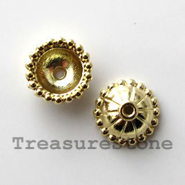Bead cap, bright gold-finished, 11mm. Pkg of 16.