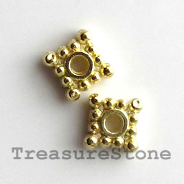 Bead, bright gold-finished, 5mm. Pkg of 30.