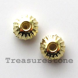 Bead, bright gold-finished, 7mm saucer. Pkg of 18.