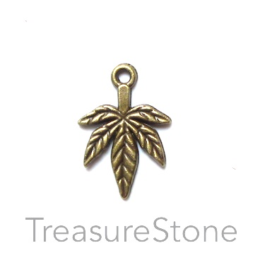 Charm/pendant, silver finished, 13x16mm leaf. Pkg of 15.