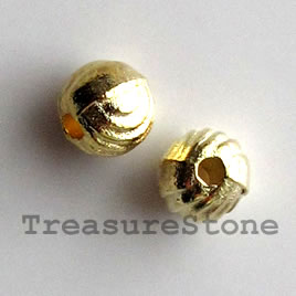 Bead, bright gold-finished, 5mm round. Pkg of 20.