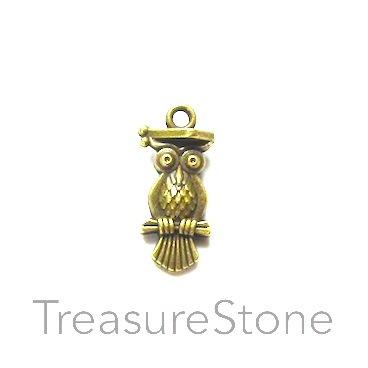 Charm/pendant, brass-plated, 10x19mm owl. Pkg of 12