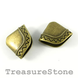 Cone, brass finished, 18x24mm. Pkg of 3.