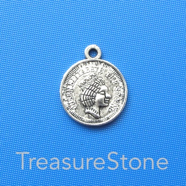 Charm/Pendant, silver-plated, 15mm coin. Pkg of 8.