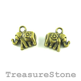 Charm, brass-plated, 9x12mm elephant. Pkg of 15.