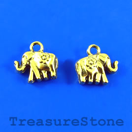 Charm, gold-plated, 9x12mm elephant. Pkg of 15.