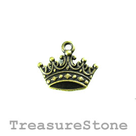 Charm, brass-plated, 11x17mm crown. Pkg of 12.