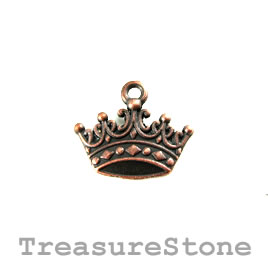 Charm, copper-plated, 11x17mm crown. Pkg of 12.