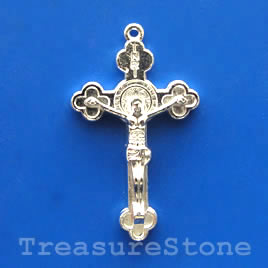Pendant/charm, silver-finished, 23x35mm crucifix. Pkg of 4.