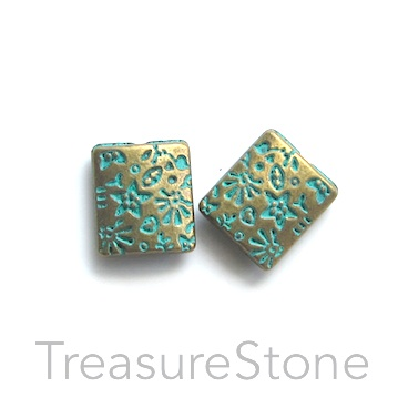 Bead, turquoise-brass coloured, 9x10mm puffed rectangle. 10pcs