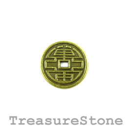 Charm/Pendant, brass-plated, 16mm chinese coin. Pkg of 6.