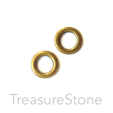 Bead, brass-colored, 10mm circle. Pkg of 22.