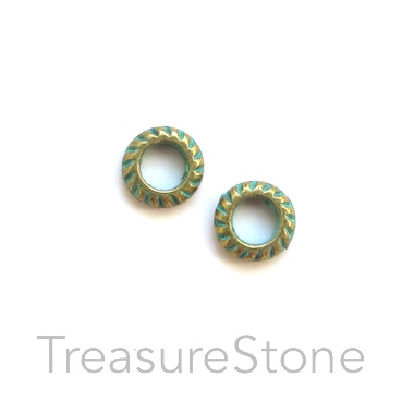 Bead, turquoise-brass coloured, 7mm circle/ring. Pkg of 30
