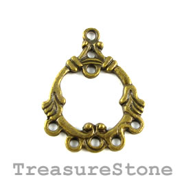 Pendant/Connector, brass-finished, 23x26mm. Pkg of 8.