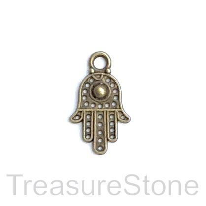 Charm, brass-finished, 11x16mm Fatima, hamsa hand. Pkg of 12.