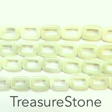 Bead/bead frame, new jade, 13x17mm rectangle. 15.5inch/22pcs