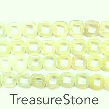 Bead/bead frame, new jade, 16mm square. 16 inch/27pcs