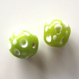 Bead, lampworked glass, green, 13x14mm. Pkg of 2.