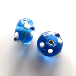 Bead, lampworked glass, blue, 14x9mm rondelle. Pkg of 8.