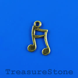 Charm, antiqued brass-finished, 12x16mm music note. Pkg of 12.