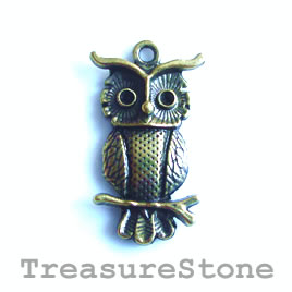 Charm/Pendant, brass-plated, 17x27mm owl. Pack of 5.