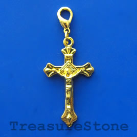 Pendant/charm, gold-finished, 25x39mm crucifix. Pkg of 4