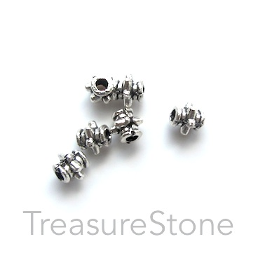 Bead, antiqued silver-finished, 3mm tube. Pkg of 35