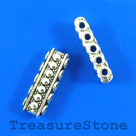 Bead, 5-strand spacer/slider, 8x22mm. Pkg of 6.