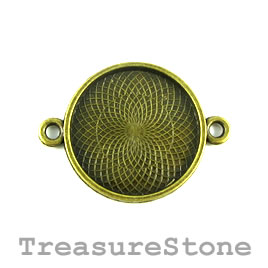 Charm/Pendant/link/frame, brass-plated, 27mm round. Each.