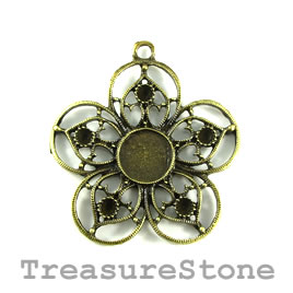 Pendant, brass-finished, 45mm flower, filigree. Pkg of 3.