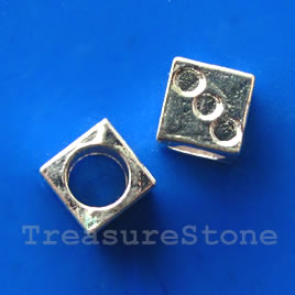 Bead, bright silver-finished, large hole, 8mm cube. Pkg of 6.
