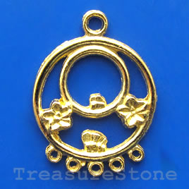 Pendant/charm, gold-finished, 24mm. Pkg of 6.