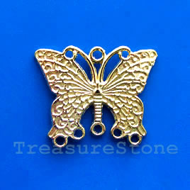 Pendant/Charm/connector,gold-finished,26x34mm butterfly.Pkg of 3