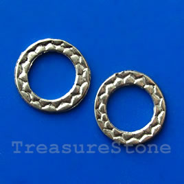 Bead, gunmetal-finished, 16mm circle. Pkg of 12.