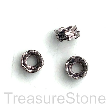 Bead, grey finished shaped circle, 4x8mm. Pkg of 20.