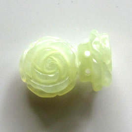 Spacer bead, new jade,19mm hand-carved flower. Sold individually