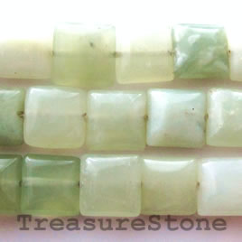 Bead, new jade, 10mm flat square. 16-inch strand.