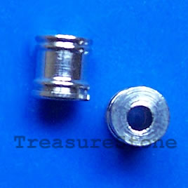 Bead, nickel, 5x5.5mm tube. Pkg of 8.