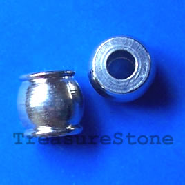 Bead, nickel, 6.5x7mm drum. Pkg of 8.