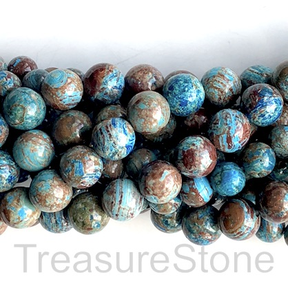Bead, blue oak jasper, dyed, 10mm round. 15.5 inch, 37pcs