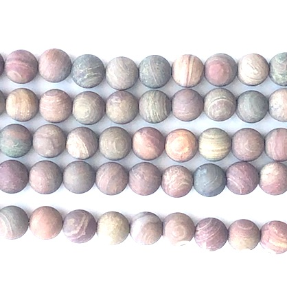 Bead, oak jasper, 8mm round, matte, frosted. 14.5 inch, 45pcs