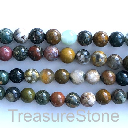 Bead, ocean agate, 8mm round. 15.5 inch, 48pcs