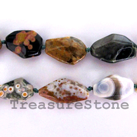 Bead, ocean agate, about 11x22mm faceted nugget. 16 inch strand