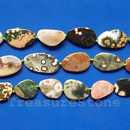 Bead, ocean agate, about 13x18mm flat freeform. 21pcs.