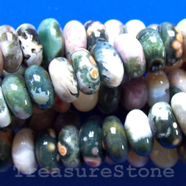 Bead, ocean agate, 5x10mm rondelle. 16 inch strand