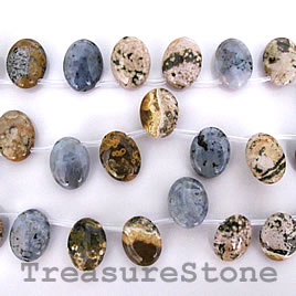 Bead, ocean jasper, 15x20mm top-drilled puffed oval. 20pcs