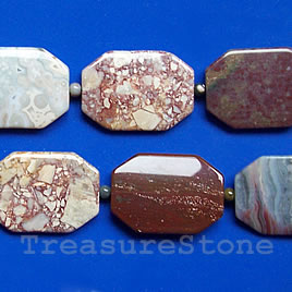 Bead, ocean jasper, 25x35mm flat rectangle. 16-inch strand.