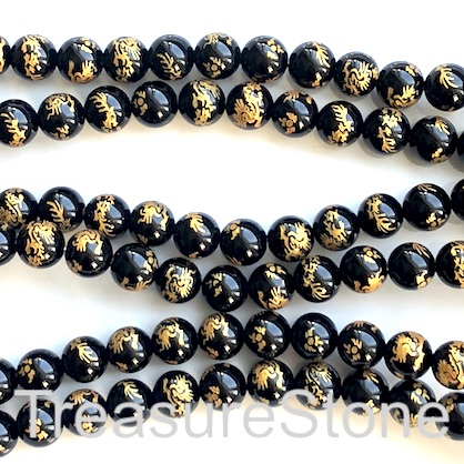 Bead, black onyx, 10mm round. gold carved dragon. 15 inch, 38pcs
